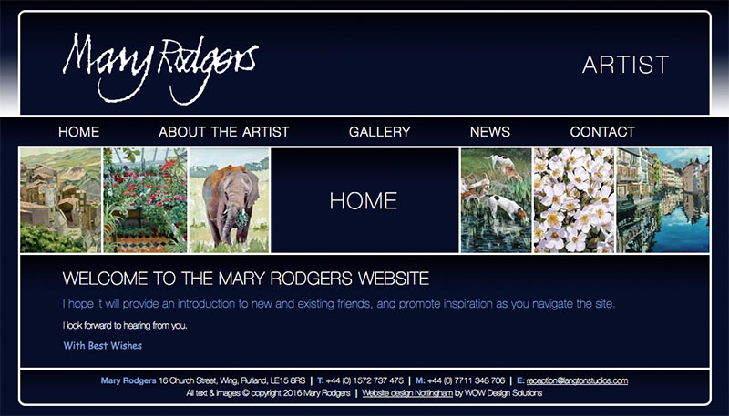 A screengrab of the old Mary Rodgers website
