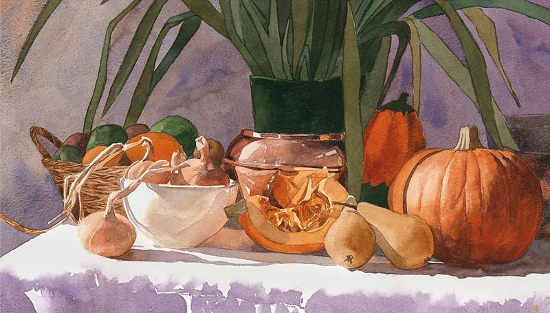 Still Life - Pumpkin and Onions