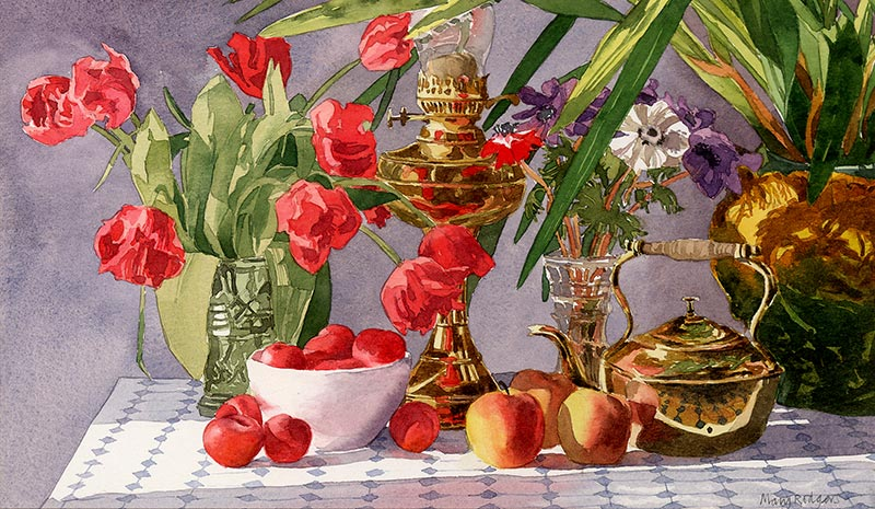 Still Life - With Brass Jug and Tulips